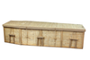 Bamboo coffin made from sustainable bamboo plants. Coffin comes lined in naturnal unbleached cotton.