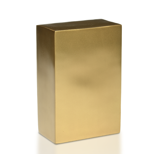 Beautiful, Sleek Brushed Brass Rectangle Cremation Niche Urn. Base opening. Secure closure.