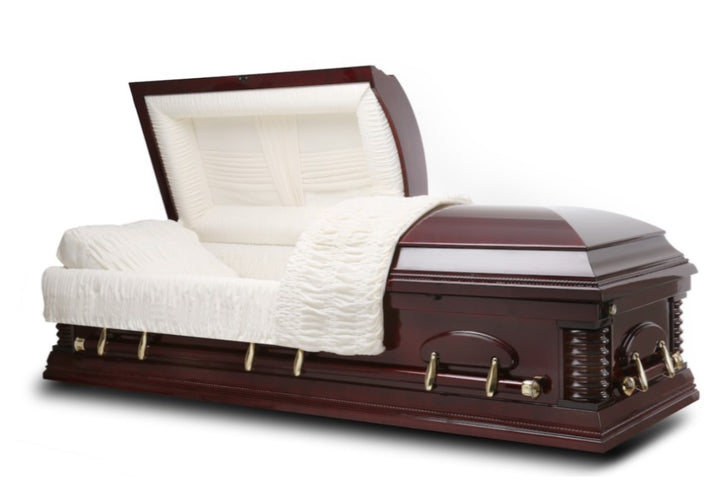 walnut veneer wood casket is polished to a high-gloss finish and comes with ivory velvet interior. All hardware fittings are made of fine bronze steel.