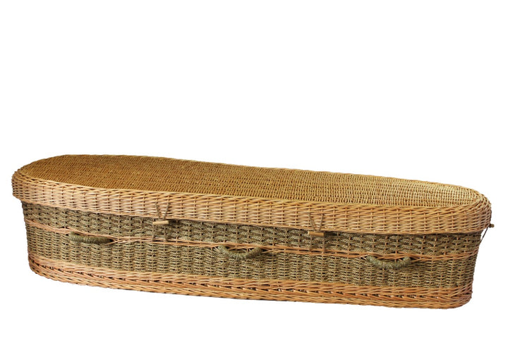 Seagrass casket made from sustainable seagrass, lined with natural unbleached cotton. Durable and weight-tested to 350 lbs.