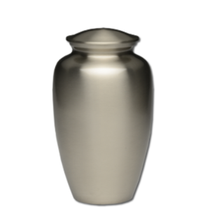 Brass cremation urn in pewter finish. Urn for human ashes. Large Size, Dim: 10? H * 6 W? Capacity: 200 Cubic Inches.