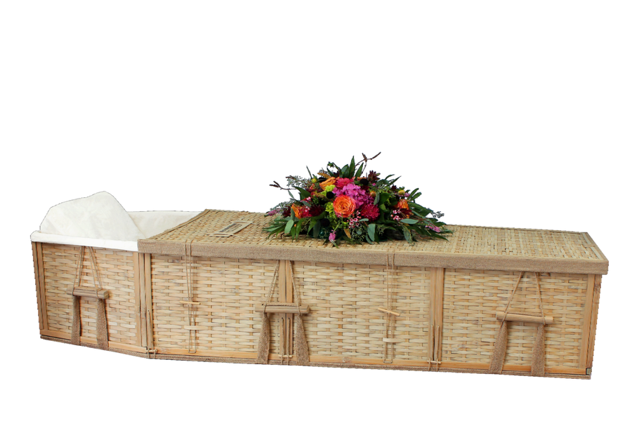 Bamboo coffin made from sustainable bamboo plants. Coffin comes lined in naturnal unbleached cotton.If the funeral's tomorrow, we can be there by 10:30 am guaranteed arrival FEDEX Priority Shipping. Orders must be received by 1:00 pm MST. The Fast Ship Coffin is the same model as our Six Point Bamboo Coffin. Expedited shipping applies.