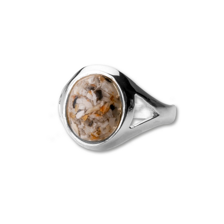 "Cremation ring made from encapsulating a small portion of a loved one's cremated remains into a unique memento. Size: 6"" L x .5"" W.  Available in silver and gold."
