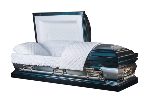 "metal funeral casket is hand made of 18 gauge Gasketed in Brushed Blue and Silver Finish with White Velvet Interior and Matching pillow.Silver handles and hardware.Outside width of 28.5"" which is right size to fit into the vault in cemetery."