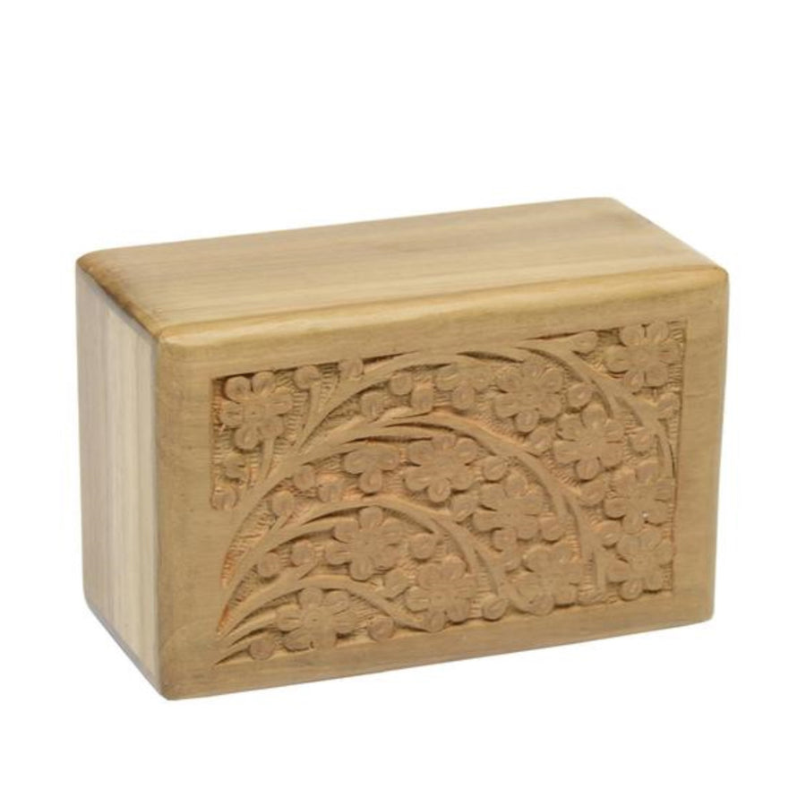 Tree of Life Urns are hand-carved from teak wood. No two are exactly alike. The urns open and seal from the bottom. The available sizes follow:Extra Large 9.5″ x 6.25″ x 5″ (210 cubic inch capacity)Small 6″ x 4″ x 2.75″ (30 cubic inch capacity) Add custom engraving.