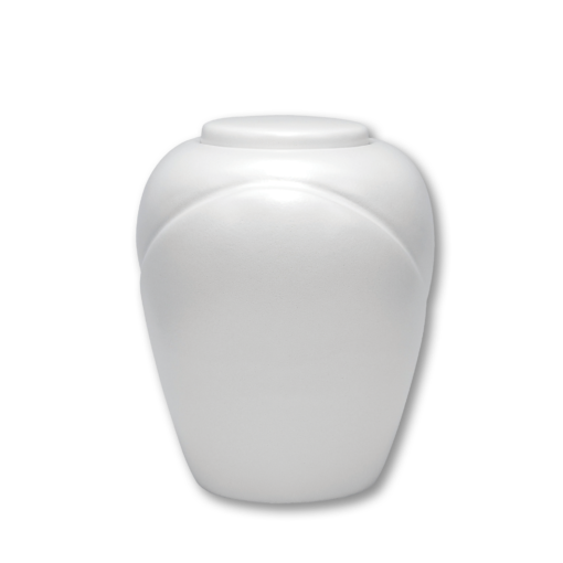 "White biodegradable urn for water. Pearl Design. Dimensions: 6.89"" Dia. x 8.75""H and Capacity 200 Cubic Inches."