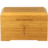 "Front side bamboo cremation urns are handcrafted from 1/2"" bamboo plywood. Dimensions: 6.25"" L x 10.25"" W x 6.25"" H   Capacity: 245 Cubic Inches. Vaya con dios and cruxification inscription."