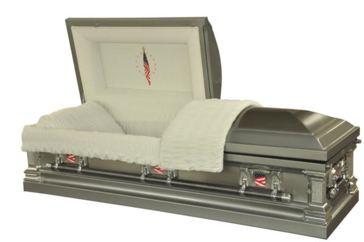Veterans casket made of 18 gauge stainless steel in brushed platinum finish.