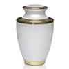 Brass Cremation Urn in White with Golden Brass Band. Threaded lid allows secure closure. Felt-lined base.