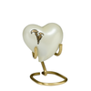 Brass Adult Cremation Urn in white with golden calla lilies. Threaded lid allows secure closure. Felt-lined base.