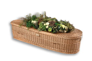 Baby casket made of biodegradable willow and lined in natural unbleached cotton. Available in four sizes from 18? to 48.?  Financing available. Free shipping.