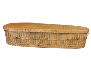 Willow casket with full lid.