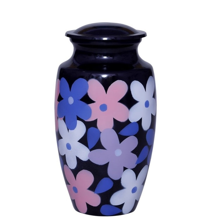 Adult black cremation urn with multi-color floral pattern
