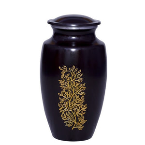 Adult black cremation urn with yellow leaf