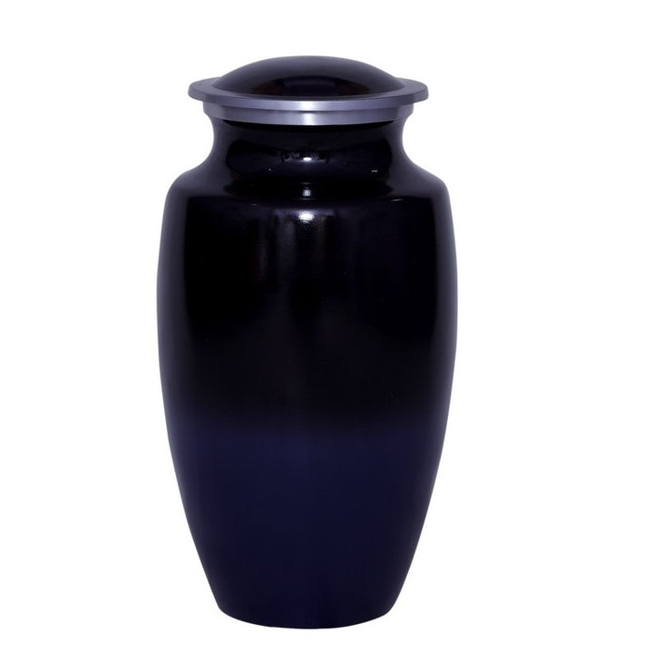 Black cremation urn made of strong alloy metal. Large Size Dimensions: 10? H * 6 W? Capacity: 240 Cubic Inches.