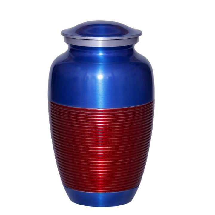 Blue cremation urn with red stripe, made of strong alloy metal. Large Size Dimensions: 10? H * 6 W? Capacity: 240 Cubic Inches.