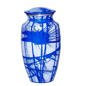 Adult blue and white cremation ash urn