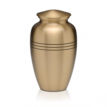 Brass cremation urn with three rings, brush brass finish.
