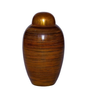 Metal cremation urn made of strong alloy metal and asian inspired. Large Size Dimensions: 10? H * 6 W? Capacity: 240 Cubic Inches.