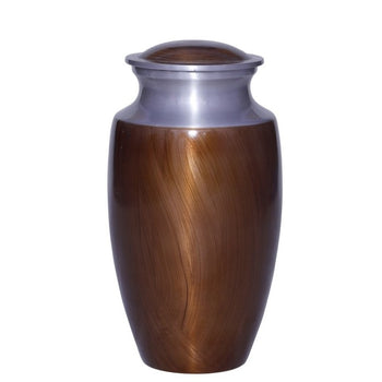 Brown & Silver Cremation Urn