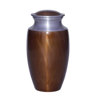 Metal cremation urn in brown and silver trim. Large Size Dimensions: 10? H * 6 W? Capacity: 240 Cubic Inches.