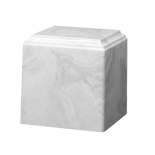 White marble cremation urns in solid cultured marble. Adult or Large Urn. Dimensions:  8? L x 8? W x 8? H. Capacity:  280 Cubic Inches, and Weight: 12 lbs.