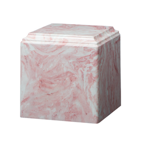 Pink marble cremation urns in solid cultured marble. Adult or Large Urn. Dimensions:  8? L x 8? W x 8? H. Capacity:  280 Cubic Inches, and Weight: 12 lbs.