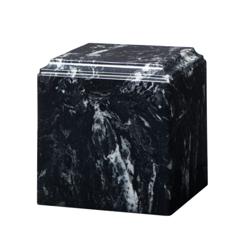Black marble cremation urns in solid cultured marble. Adult or Large Urn. Dimensions:  8? L x 8? W x 8? H. Capacity:  280 Cubic Inches, and Weight: 12 lbs.