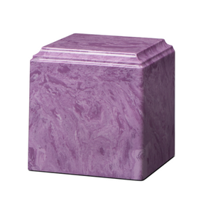 Purple marble cremation urns in solid cultured marble. Adult or Large Urn. Dimensions:  8? L x 8? W x 8? H. Capacity:  280 Cubic Inches, and Weight: 12 lbs.