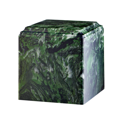 Green marble cremation urns in solid cultured marble. Adult or Large Urn. Dimensions:  8? L x 8? W x 8? H. Capacity:  280 Cubic Inches, and Weight: 12 lbs.