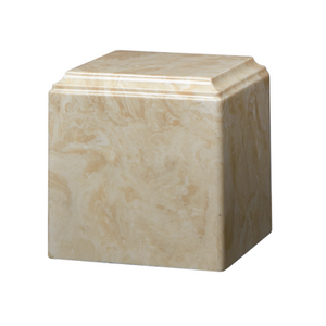 Mocha marble cremation urns in solid cultured marble. Adult or Large Urn. Dimensions:  8? L x 8? W x 8? H. Capacity:  280 Cubic Inches, and Weight: 12 lbs.