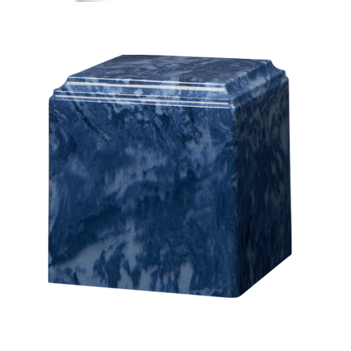 Dark Blue marble cremation urns in solid cultured marble. Adult or Large Urn. Dimensions:  8? L x 8? W x 8? H. Capacity:  280 Cubic Inches, and Weight: 12 lbs.