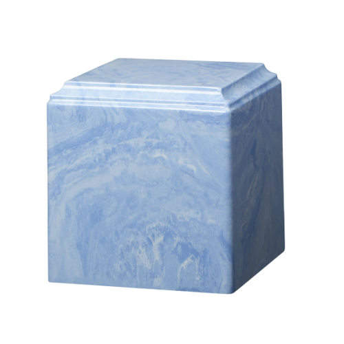Wedgewood Blue marble cremation urns in solid cultured marble. Adult or Large Urn. Dimensions:  8? L x 8? W x 8? H. Capacity:  280 Cubic Inches, and Weight: 12 lbs.