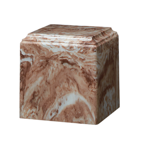Café marble cremation urns in solid cultured marble. Adult or Large Urn. Dimensions:  8? L x 8? W x 8? H. Capacity:  280 Cubic Inches, and Weight: 12 lbs.