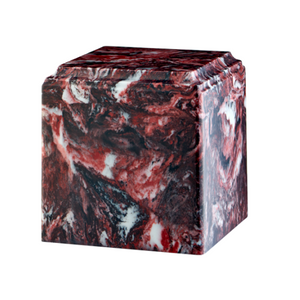 Fire Rock marble cremation urns in solid cultured marble. Adult or Large Urn. Dimensions:  8? L x 8? W x 8? H. Capacity:  280 Cubic Inches, and Weight: 12 lbs.