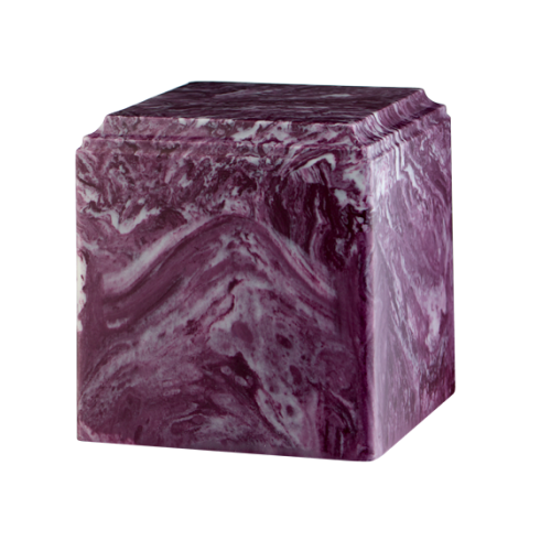Merlot marble cremation urns in solid cultured marble. Adult or Large Urn. Dimensions:  8? L x 8? W x 8? H. Capacity:  280 Cubic Inches, and Weight: 12 lbs.