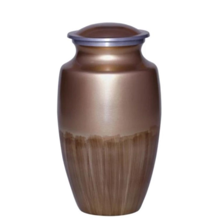 Cremation urn made of durable alloy metal in elegant gold finish. Large Size Dimension: 10? H * 6 W? Capacity: 240 Cubic Inches.