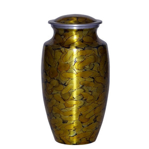 Gold urn for ashes made of strong alloy metal. Large Size Dimensions: 10? H * 6 W? Capacity: 240 Cubic Inches.