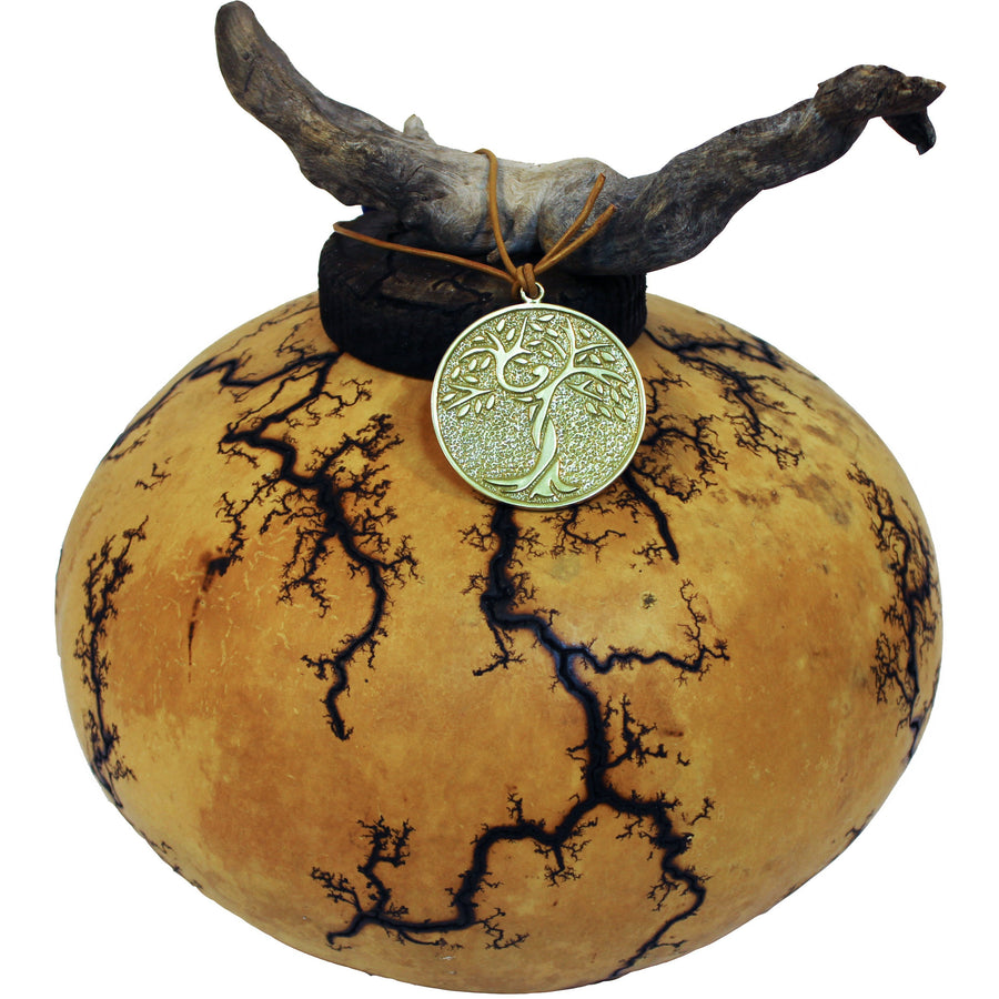 Adult size cremation gourd urn grown and crafted in the U.S. desert-southwest and a include bronze memorial pendant that hangs from ornamental drift-wood.