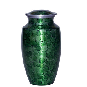 Green cremation urn made of strong alloy metal. Decorative urn. Large Size Dimensions: 10? H * 6 W? Capacity: 240 Cubic Inches.