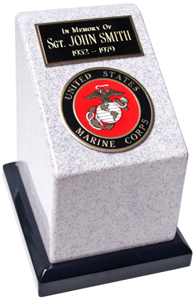 Our Military Service Urns are made of solid cultured grey marble in the US and include a 4″ service medallion. Choose from U.S. Army, Air Force, Marine Corps, or Navy.