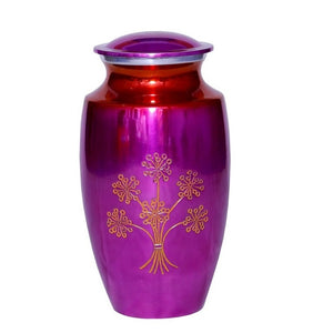 Pink cremation urn made of stong alloy metal.  Large Size Dimensions: 10? H * 6 W? Capacity: 240 Cubic Inches.