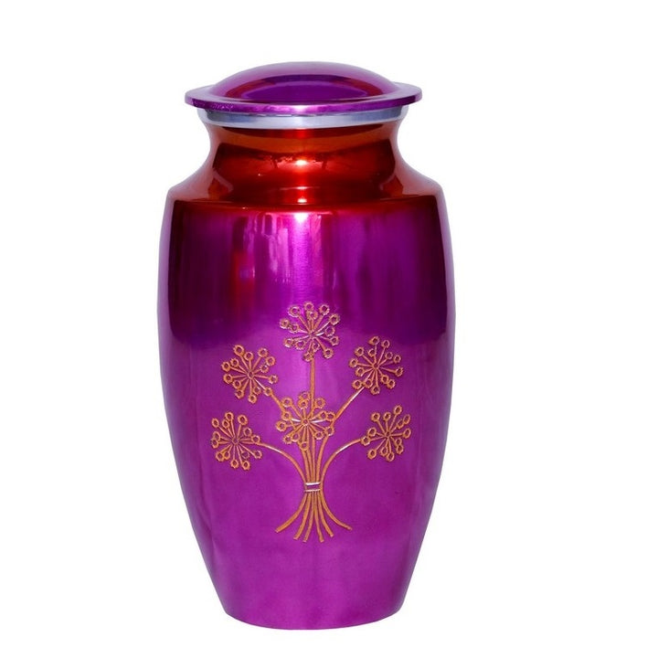 Purple Cremation Urn with flowers
