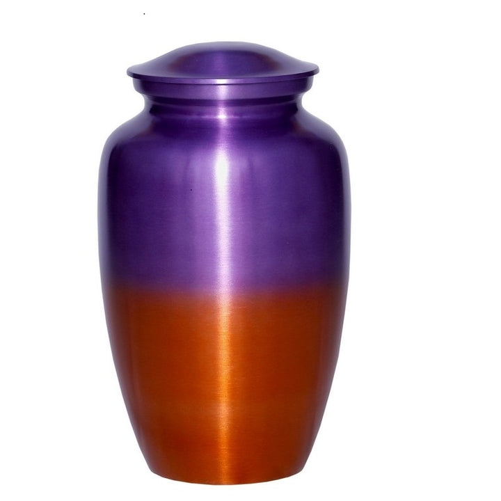Purple cremation urn with orange flare.