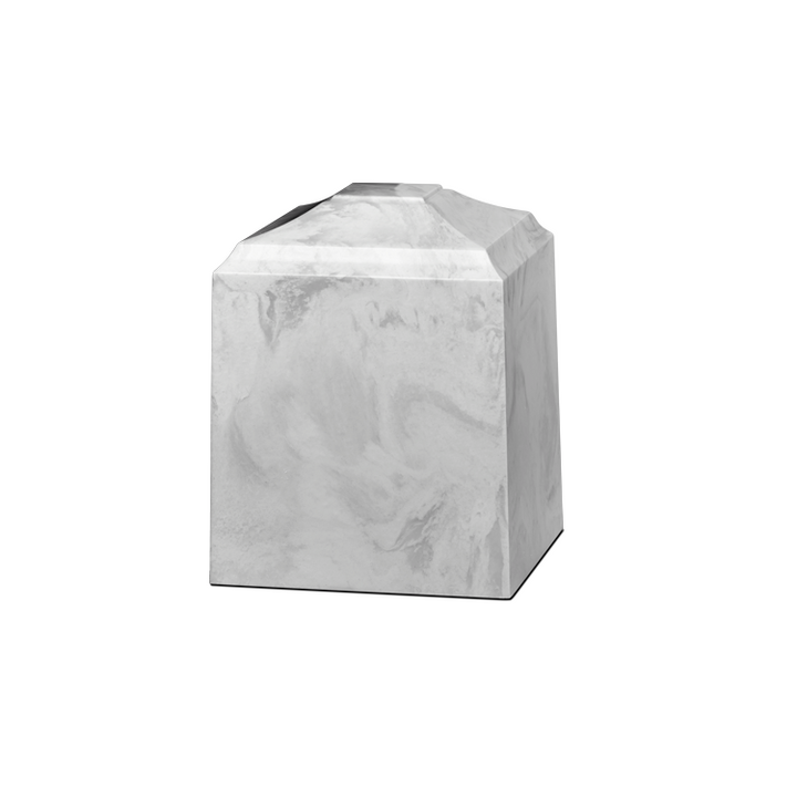 Marble pet urn in solid carrera white cultured marble. Small or pet size urn. Dimensions: 4.75 L x 4.75 W x 6 H, Capacity: 40 Cubic Inches. Weight: 7 lbs.