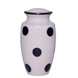 white and black polka dots cremation ash urn