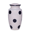 White cremation urn with polka dot, made of strong alloy metal. Large Size Dimensions: 10? H * 6 W? Capacity: 240 Cubic Inches.