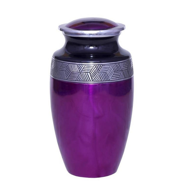 Adult purple with silver band cremation ash urn