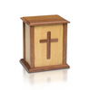 Solid wood cremation urn with cross. Available in two sizes: adult and small