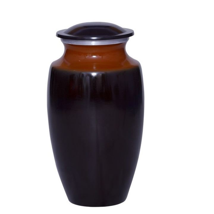 Cremation urn made of durable alloy metal in elegant tan and orange.